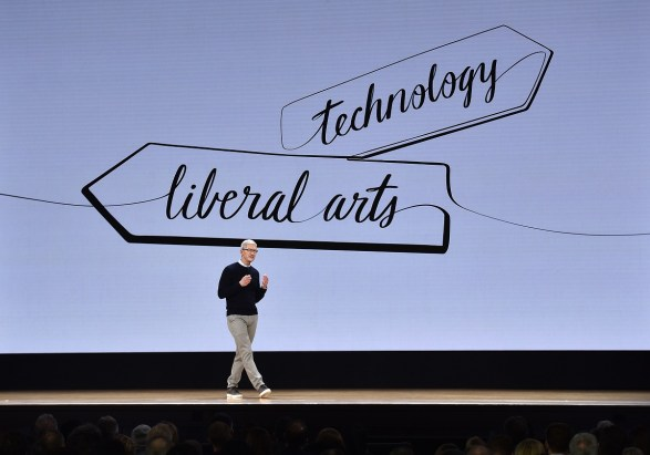 Tim Cook, chief executive office of Apple Inc., speaks during an event at Lane Technical College Prep High School in Chicago. Apple is making announcements in a bid to win back students and teachers from Google and Microsoft Corp. (Christopher Dilts/Bloomberg)