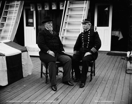 Secretary of the Navy Hilary Herbert and Commodore Robert Phythian, c. 1893-1897. (Detroit Publishing Co., Library of Congress Prints and Photographs Division)