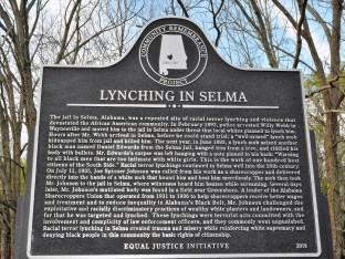 A marker tells the story of crimes committed in Selma. (Stephonia Taylor McLinn/The Birmingham Times)