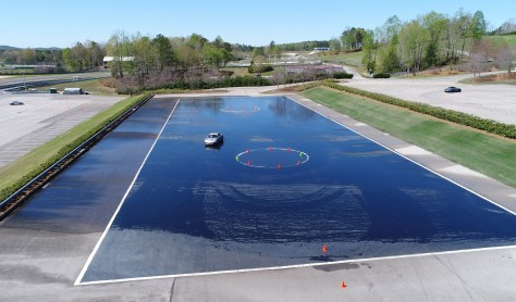 A wet skidpad tests a driver's ability. (Barber Motorsports Park and Museum)