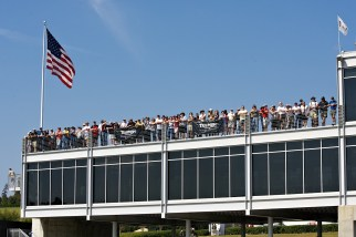 Fans watch a race from Barber's Race Control building. (Barber Motorsports Park and Museum)