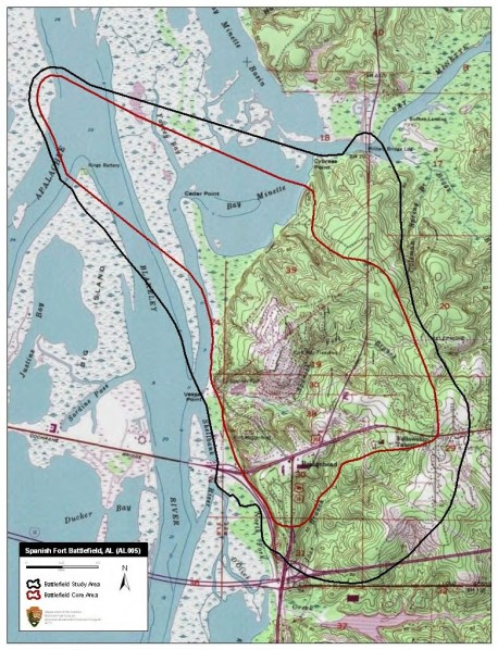 Map of Spanish Fort battlefield core and study areas, 2011. (American Battlefield Protection Program, National Park Service, Wikipedia)
