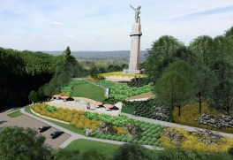 A rendering shows Vulcan with the new Kiwanis Centennial Park below it. (contributed)