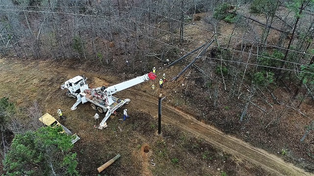 Alabama Power crews faced widespread destruction to infrastructure that was not always easy to get to in east Alabama. (Steve Dunlap / Alabama NewsCenter)