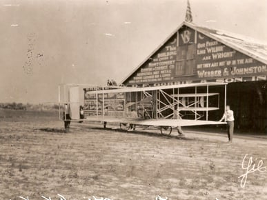 The biplane pictured here was used by Orville Wright to train students at his civilian flying school, which opened near Montgomery in March 1910. (From Encyclopedia of Alabama, courtesy of Air University Historical Research Agency)