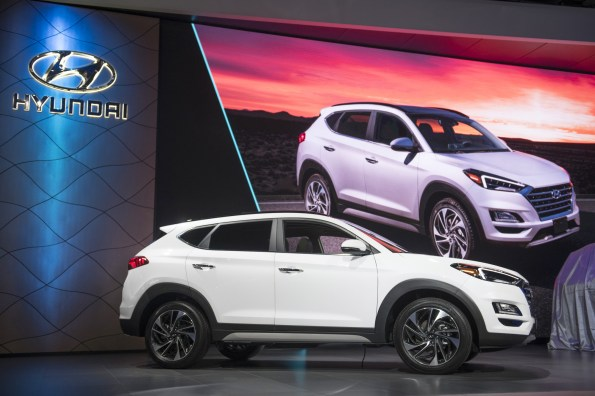 The Hyundai Motor Co. Tucson is unveiled during the 2018 New York International Auto Show in New York. (Michael Noble Jr./Bloomberg)