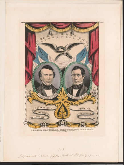 Presidential campaign banner featuring bust portraits of candidates Franklin Pierce, president, and William R. King, vice president, c. 1852. (Currier & Ives, Library of Congress, Prints and Photographs Division)