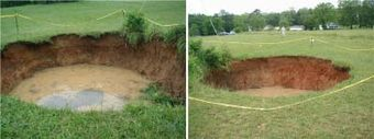 A 29-foot sinkhole that formed as a result of the 2003 earthquake, northwest Fort Payne. (thefullwiki.org)