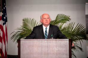 UAB President Ray Watts speaks at the commencement. (Billy Brown / Alabama NewsCenter)