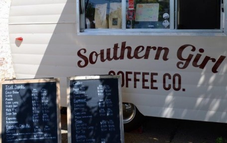 Southern Girl Coffee Co. sells its coffee from a converted Shasta camping trailer in downtown Oxford and at festivals and events. (Michael Tomberlin / Alabama NewsCenter)