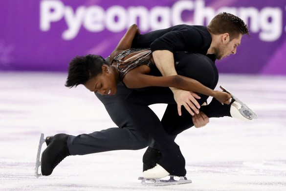 Morgan Ciprès and Vanessa James skate in the 2018 Winter Olympics in Pyeongchang, South Korea. (Jamie Squire/Getty Images)