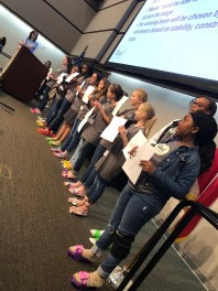 One iCan competition required the girls to design high-heeled shoes from poster board, blocks, duct tape and other materials. (contributed)