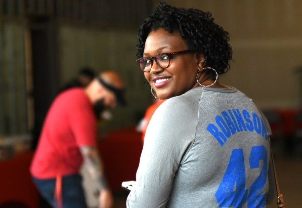 Michelle Clemon, daughter of attorney and former judge U.W. Clemon, proudly displays 42 on her back. (Solomon Crenshaw Jr./Alabama NewsCenter)