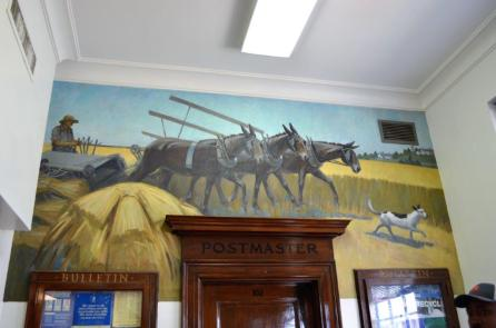 A mural in the Monroeville Post Office. (Michael Tomberlin / Alabama NewsCenter)