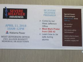 Poster greeted Alabama Power customers as they entered the West Jefferson Business Office. (Keisa Sharpe/Alabama NewsCenter)