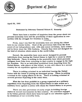 Robert F. Kennedy's comments on the neutrality laws and the struggle for freedom in Cuba, April 20, 1961. (U.S. National Archives and Records Administration, Wikipedia)