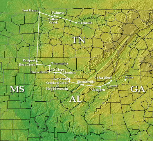 Route of Streight's Raid (1863) through Northern Alabama, which started at Nashville and was eventually headed for Rome, Georgia. (Brian0918, Wikipedia)