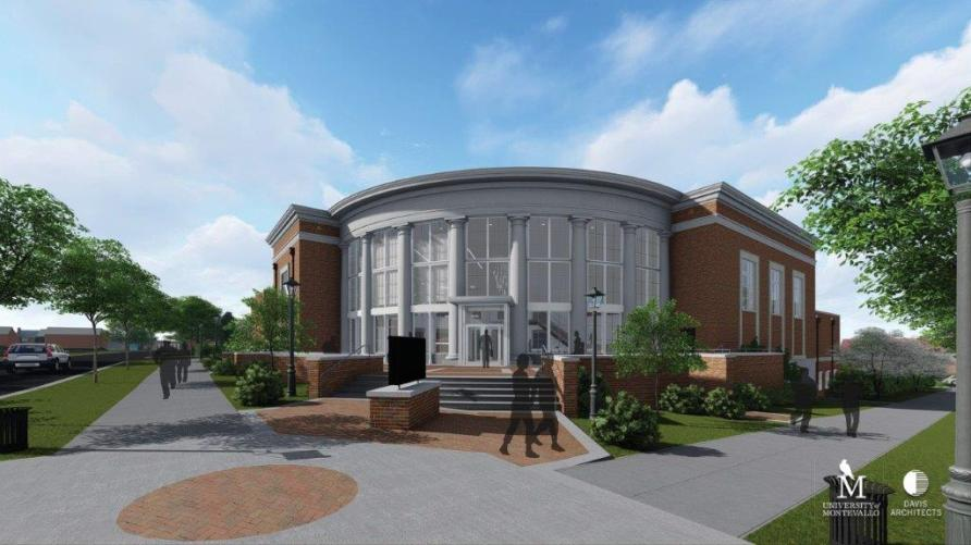 A rendering shows the future 36,000-square-foot Center for the Arts at the University of Montevallo. (Davis Architects)