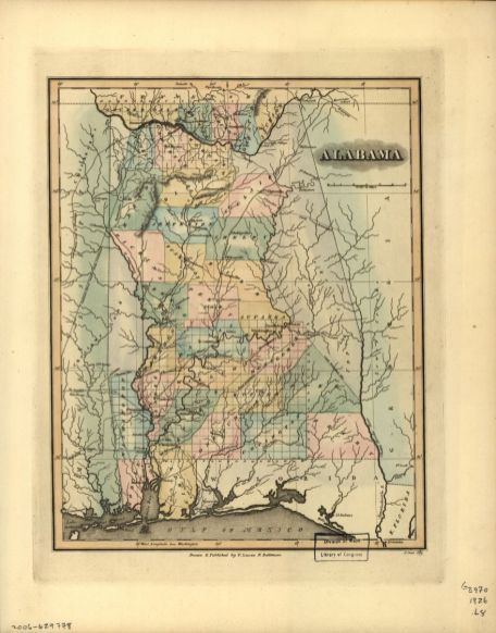 Map of Alabama, published 1826. (Fielding Lucas Jr., Library of Congress, Geography and Map Division)