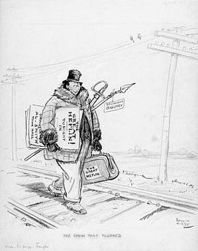 """A Rollin Kirby political cartoon titled """"The Show That Flopped,"""" depicting Alabama U.S. Sen. James T. Heflin as a vaudeville performer walking along a railroad track with a satchel labeled """"The Great Heflin"""" and carrying a sword and a spear labeled """"Religious Bigotry."""" The cartoon appeared in The New York Times in April 1928 regarding Heflin's attempts to foil New York presidential candidate Al Smith's campaign in North Carolina. (From Encyclopedia of Alabama, Library of Congress)"""
