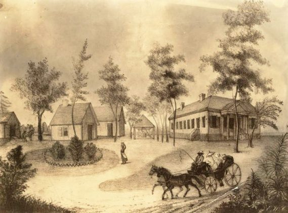This mid-19th century print depicts Chestnut Hill, the estate of politician William Rufus King. He built it around 1820 on the east bank of the Alabama River opposite the state capitol at Cahaba in Dallas County. The structure burned in 1920. (From Encyclopedia of Alabama, photo courtesy of the Alabama Department of Archives and History)