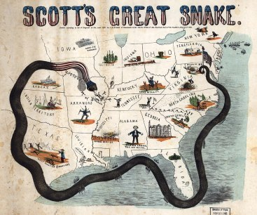 "Cartoon map illustrating Gen. Winfield Scott's plan to crush the Confederacy economically. It is sometimes called the ""Anaconda plan."" (J.B. Elliott, Library of Congress)"