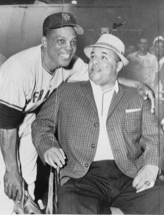 Willie Mays, standing, with his arm around the shoulders of Roy Campanella, 1961. (Photograph by William C. Greene, World Telegram & Sun; Library of Congress, Prints and Photographs Division)
