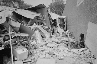Photograph showing the wreckage of a bomb explosion near the Gaston Motel where the Rev. Martin Luther King Jr. and leaders in the Southern Christian Leadership Conference were staying during the Birmingham campaign of the civil rights movement. (Library of Congress, Prints and Photographs Division, Wikipedia)
