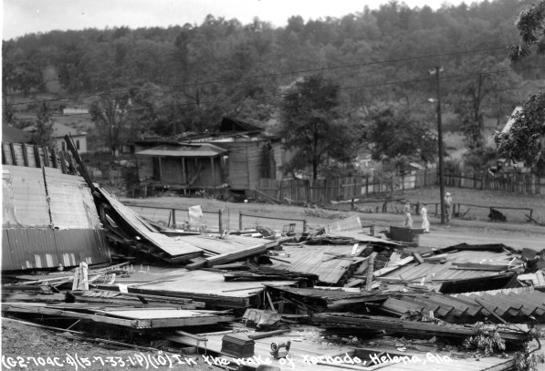 Damage from the 1933 tornado that struck Helena. (Photo courtesy of the City of Helena Museum)