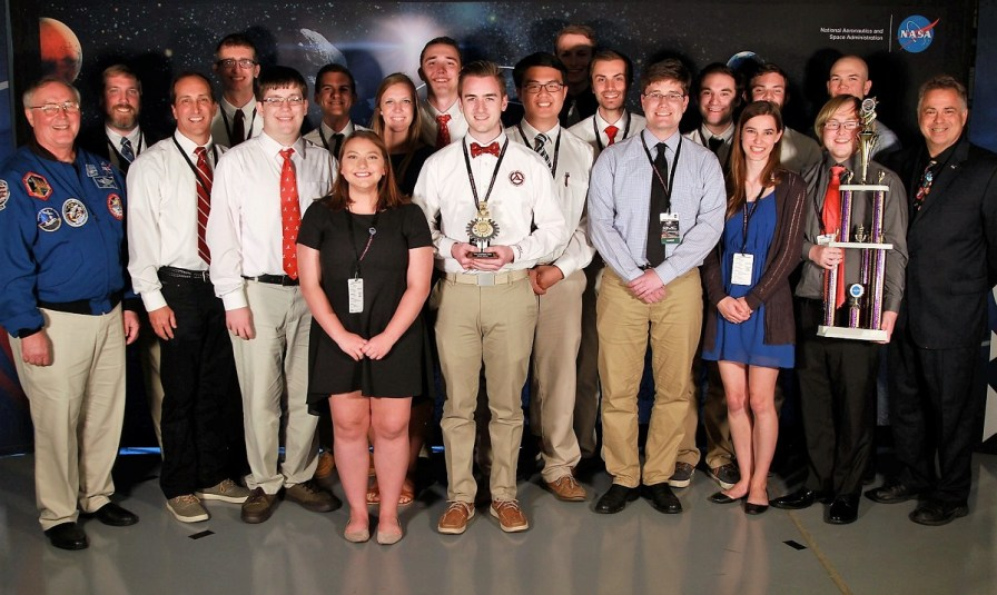 Members of Alabama Astrobotics accepted the top honor at the NASA Robotic Mining Competition. (contributed)