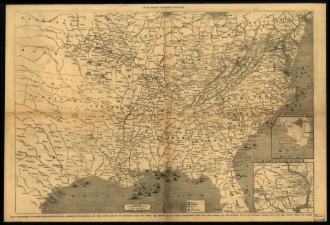 Map of the Southern and border states, showing the actual positions of the national and rebel forces, and of the blockading fleets and vessels, the positions of the various fortifications that were erected, and where all the important battles were fought during the war, c. 1861. (From Frank Leslie's illustrated newspaper, Library of Congress, Geography and Map Division)