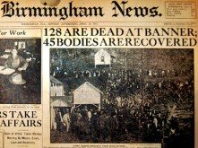 On April 8, 1911, Pratt Consolidated Coal Company's Banner Coal Mine collapsed from an explosion, killing 128 miners. The tragedy renewed debate on the convict-lease system and helped Gov. Emmet O'Neal push a mine safety bill through the state Legislature later that month. (From Encyclopedia of Alabama, courtesy of Alabama Department of Archives and History)