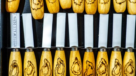 Hand-crafted oyster knives by Andrew Lee. (Mark Sandlin/Alabama NewsCenter)