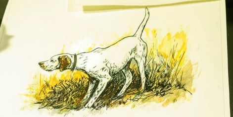Some customers commission Lee to create pictures of their dogs. (Mark Sandlin/Alabama NewsCenter)
