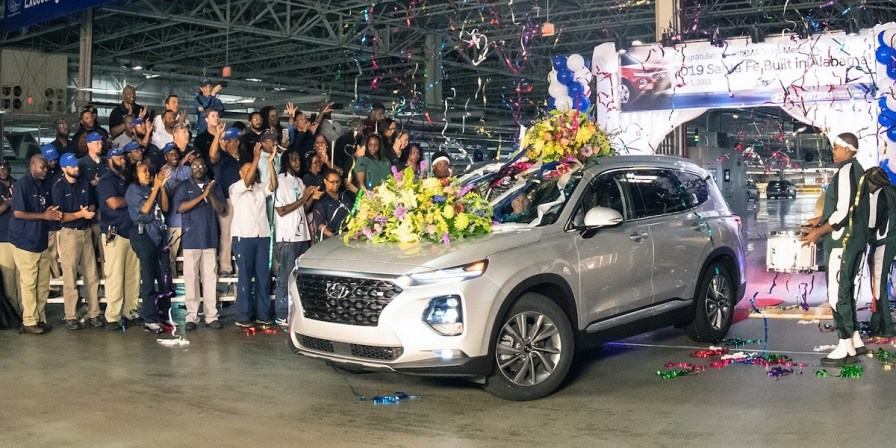 Hyundai employees in Montgomery officially launch production of the redesigned 2019 Santa Fe SUV. (contributed)