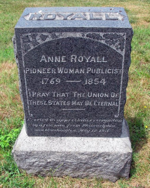 Headstone of Anne Newport Royall in the Congressional Cemetery, Washington, D.C., 2012. (Slashme, Wikipedia)