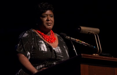 Birmingham City Schools Superintendent Lisa Herring at an event honoring the Magnificent Seven SpeakFirst graduates at the Lyric Theatre. (contributed)
