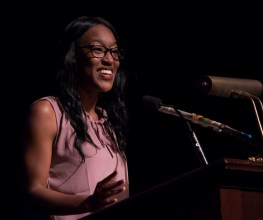 Brittany Grady, a 2015 SpeakFirst alumna, at this year's ceremony for graduates. (contributed)