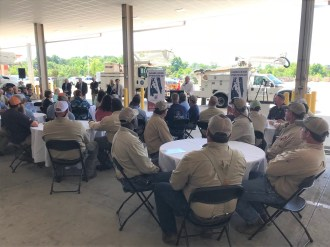 Seth Hammett speaks to a group gathered in recognition of Alabama Lineman Appreciation Day. (Alabama NewsCenter)