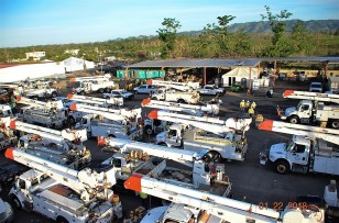 Trucks from Alabama Power and other Southern Company utilities on their power restoration mission in Puerto Rico. (file)