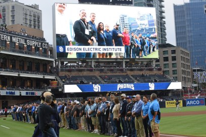 Line workers who helped restore power in Puerto Rico are honored at an Atlanta Braves-San Diego Padres game. (contributed)