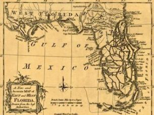"A 1763 map titled ""A New and Accurate Map of East and West Florida."" It was published by R. Baldwin of London. (From Encyclopedia of Alabama, courtesy of University of Alabama W.S. Hoole Special Collections Library)"