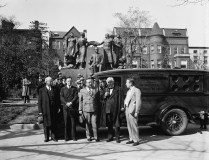United Textile Workers of America truck in front of Samuel Gompers Memorial, Washington, D.C., 1935. (Harris & Ewing, Library of Congress, Prints and Photographs Division)