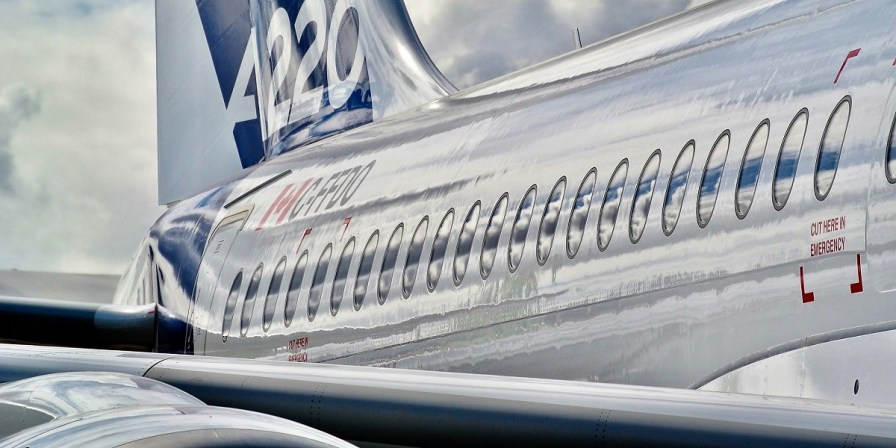 An Airbus A220 passenger jet, developed by Canada's Bombardier as the C series, is displayed at the 2018 Farnborough International Airshow. (contributed)