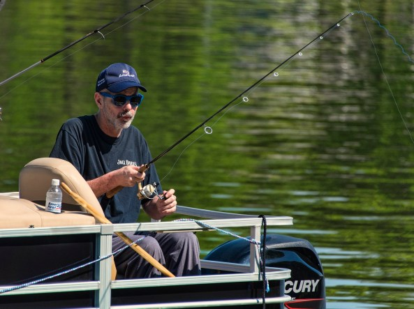 Veteran James Bryant fishes during a day on Lake Logan Martin. (Bernard Troncale/Shorelines)