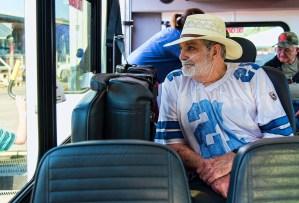 Marine veteran Joe Stephens waits to exit a bus for a fishing trip and day on Lake Logan Martin. (Bernard Troncale/Shorelines)
