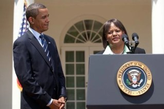 President Barack Obama and Regina Benjamin at the White House in Washington, D.C. The president announced the Alabama physician's nomination for the office of U.S. Surgeon General on July 13, 2009. (Photograph by White House photographer Lawrence Jackson, from Encyclopedia of Alabama)