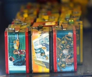 The lunch box collection was among the attractions at Vincent Oliver's Hippodrome Barber Shop in Woodlawn. (Solomon Crenshaw Jr. / Alabama NewsCenter)