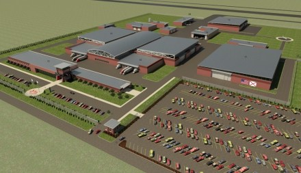 This rendering shows Leonardo's planned T-100 production center at Moton Field in Tuskegee. (GS&P)
