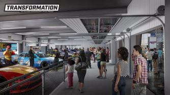 The new Garage Fan Zone Experience includes a viewing walkway as part of the Talladega Superspeedway Transformation project. (DLR Group)
